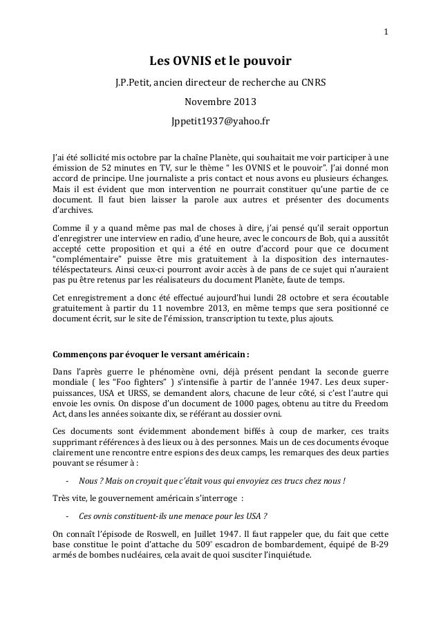 1  Les  OVNIS  et  le  pouvoir  J.P.Petit,  ancien  directeur  de  recherche  au  CNRS  Novembre  2013  Jppetit1937@yahoo....