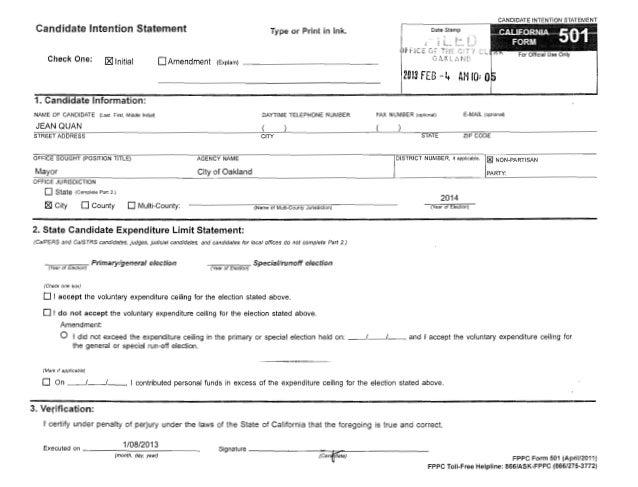 Jean Quan FPPC Form 501