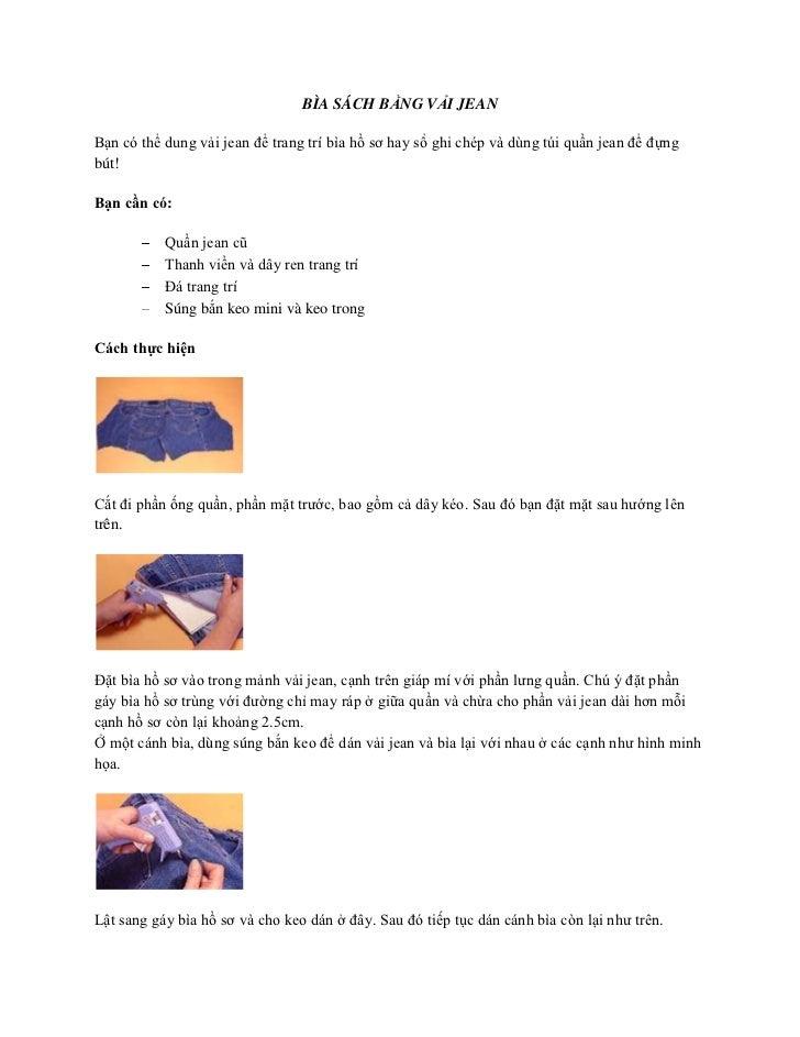 BÌA SÁCH BẰNG VẢI JEAN<br />Bạn có thể dung vải jean để trang trí bìa hồ sơ hay sổ ghi chép và dùng túi quần jean để đựng ...