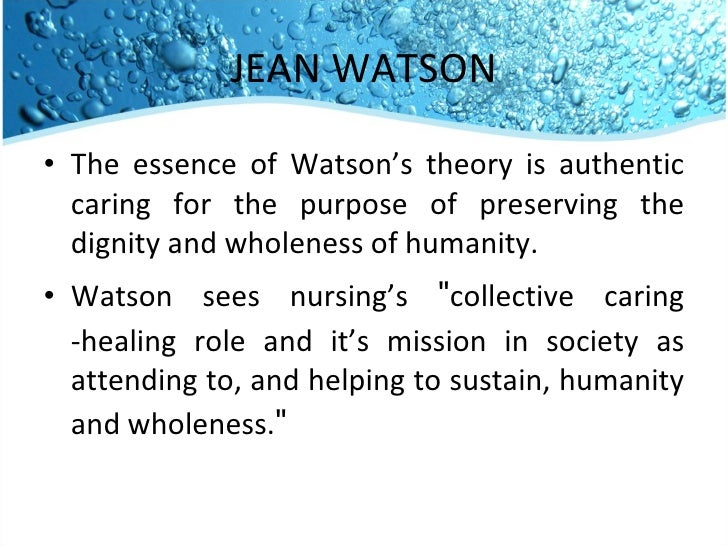 "jean watson theory on care for the homeless Jean watson's ""philosophy and theory of transpersonal caring"" mainly concerns on how nurses care for their patients, and how that caring progresses into better plans to promote health and wellness, prevent illness and restore health."