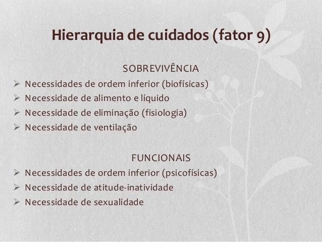 Hierarquia de cuidados (fator 9) SOBREVIVÊNCIA      Necessidades de ordem inferior (biofísicas) Necessidade de aliment...