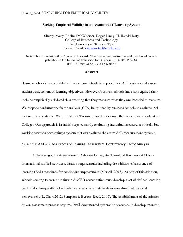 Running head: SEARCHING FOR EMPIRICAL VALIDITY Seeking Empirical Validity in an Assurance of Learning System Sherry Avery,...