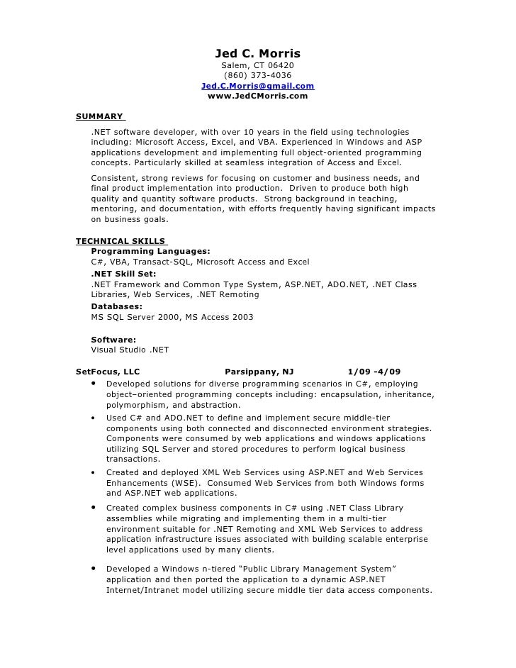 Jed C. Morris ...  Database Developer Resume