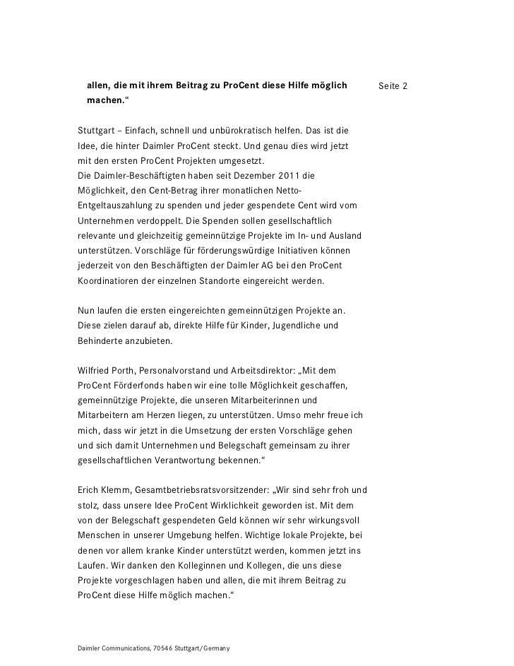 """allen, die mit ihrem Beitrag zu ProCent diese Hilfe möglich          Seite 2  machen.""""Stuttgart – Einfach, schnell und unb..."""