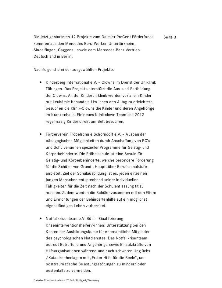 Die jetzt gestarteten 12 Projekte zum Daimler ProCent Förderfonds      Seite 3kommen aus den Mercedes-Benz Werken Untertür...