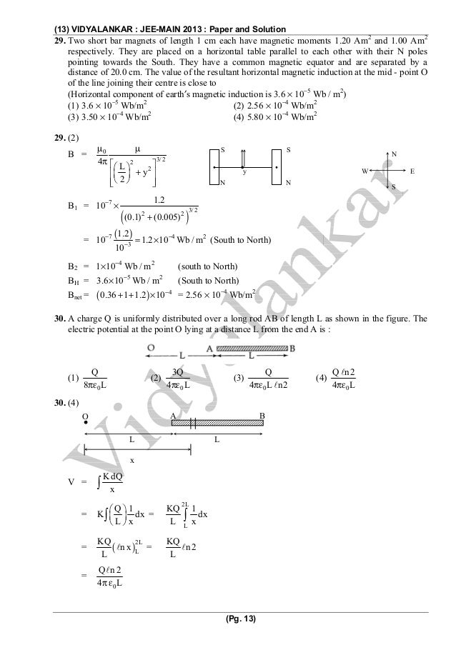 Jee main 2013 question paper and solution 13 sciox Gallery