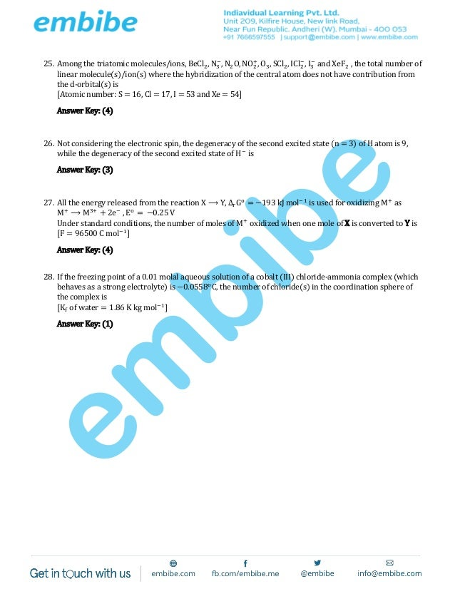 Jee advanced 2015 paper 1 code 1 finalXef2 Hybridization Of Central Atom
