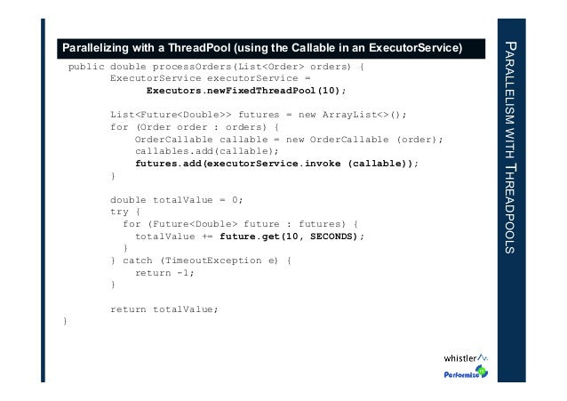 public double processOrders(List<Order> orders) { ExecutorService executorService = Executors.newFixedThreadPool(10); List...