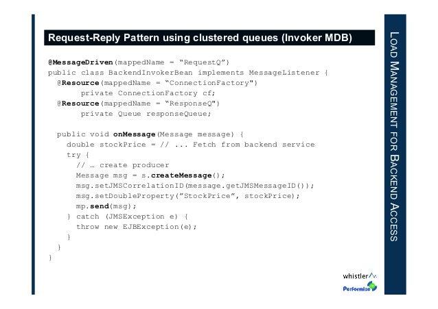 "@MessageDriven(mappedName = ""RequestQ"") public class BackendInvokerBean implements MessageListener { @Resource(mappedName ..."