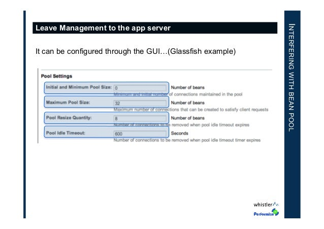 It can be configured through the GUI…(Glassfish example)  INTERFERING WITH BEAN POOL  Leave Management to the app server