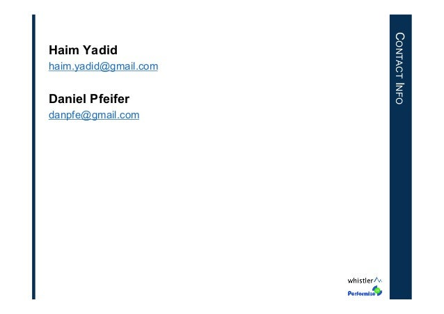 haim.yadid@gmail.com  Daniel Pfeifer danpfe@gmail.com  CONTACT INFO  Haim Yadid
