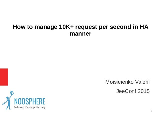 1 How to manage 10K+ request per second in HA manner ● Moisieienko Valerii ● JeeConf 2015