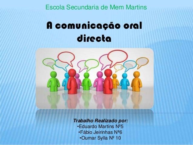 Escola Secundaria de Mem Martins  A comunicação oral directa  Trabalho Realizado por: •Eduardo Martins Nº5 •Fábio Jeirinha...