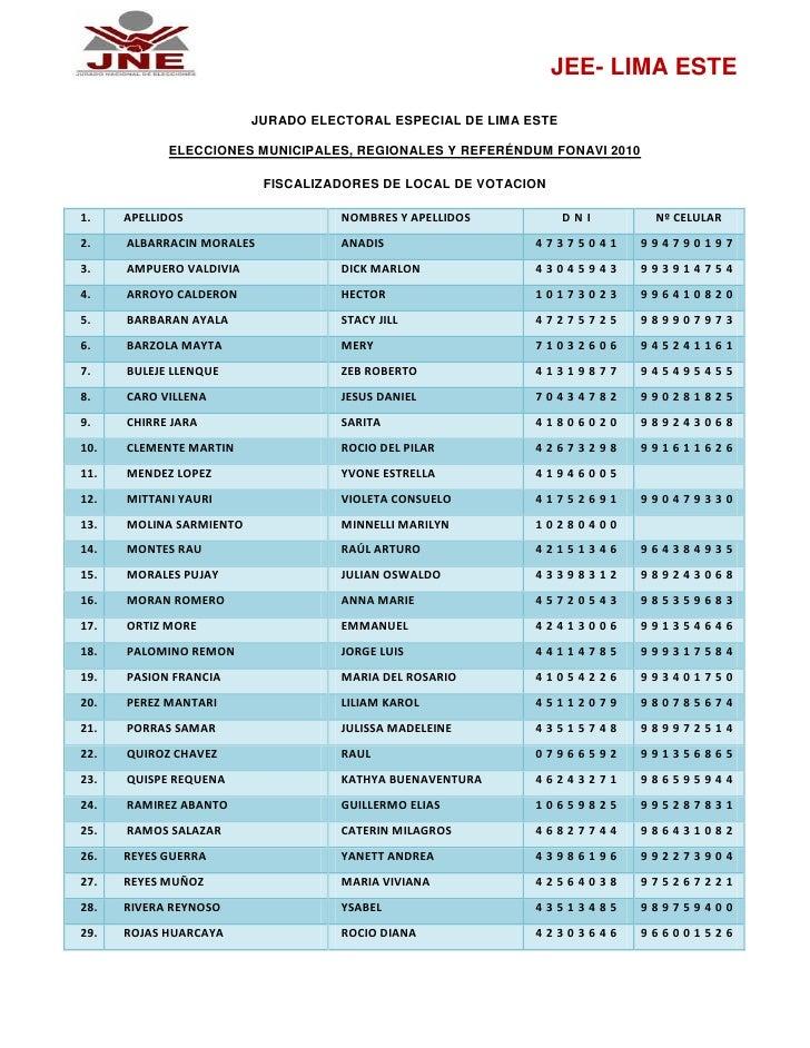 Jee lima este fiscalizadores de local de votacion ermr 2010