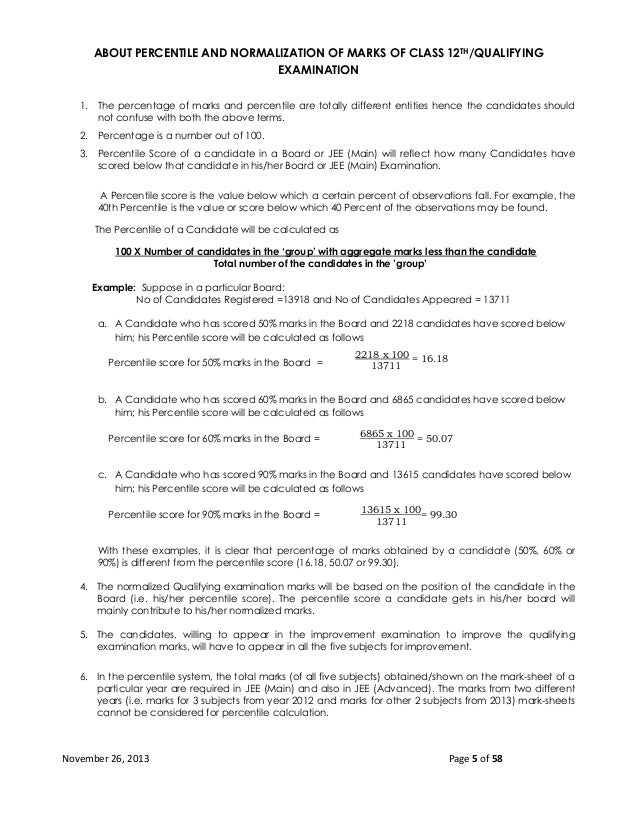 ABOUT PERCENTILE AND NORMALIZATION OF MARKS OF CLASS 12TH/QUALIFYING EXAMINATION 1. The percentage of marks and percentile...