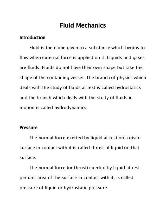 JEE Main 2014 Physics Notes - Fluid Mechanics