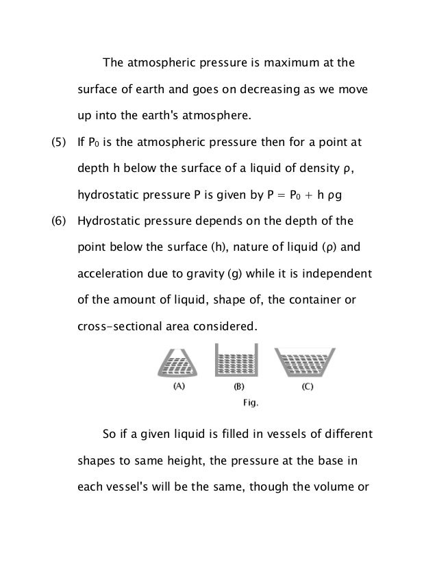 JEE Main 2014 Physics Notes - Fluid Mechanics