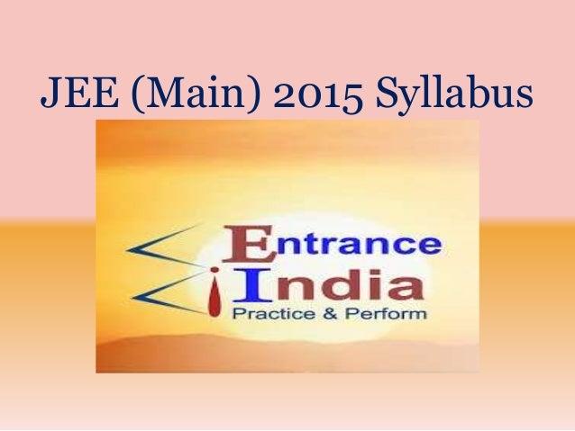 JEE (Main) 2015 Syllabus