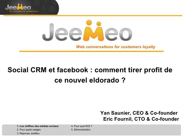 Social CRM et facebook : comment tirer profit de ce nouvel eldorado ? Web conversations for customers loyalty Yan Saunier,...