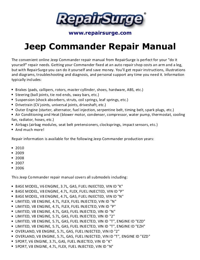 jeep commander repair manual 2006 2010 rh slideshare net 2007 jeep commander repair manual pdf 2007 jeep commander manual book