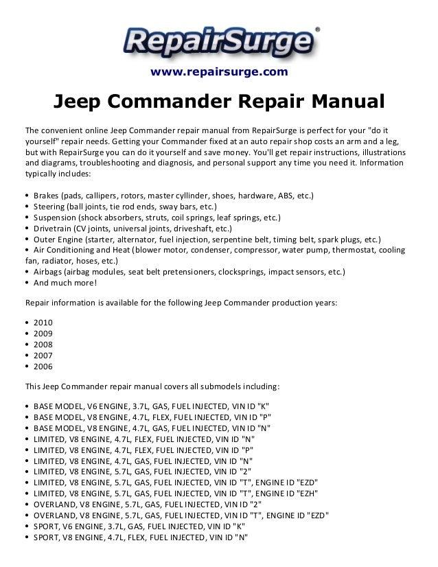 jeep commander repair manual 2006 2010 rh slideshare net 2006 Jeep Commander Parts 2006 Jeep Commander Parts