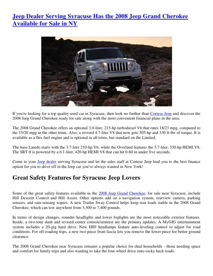 Used Car Dealerships Syracuse Ny >> Jeep Dealer Serving Syracuse Has The 2008 Jeep Grand