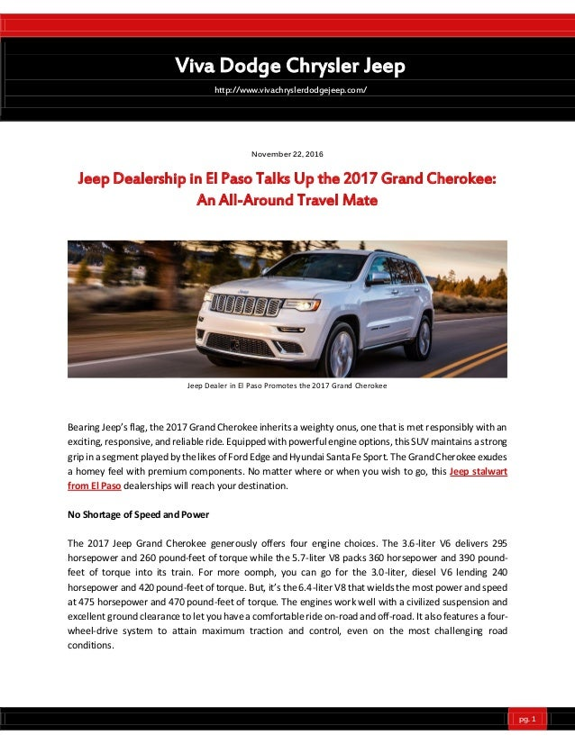 Jeep Dealership In El Paso Talks Up The 2017 Grand Cherokee An All A