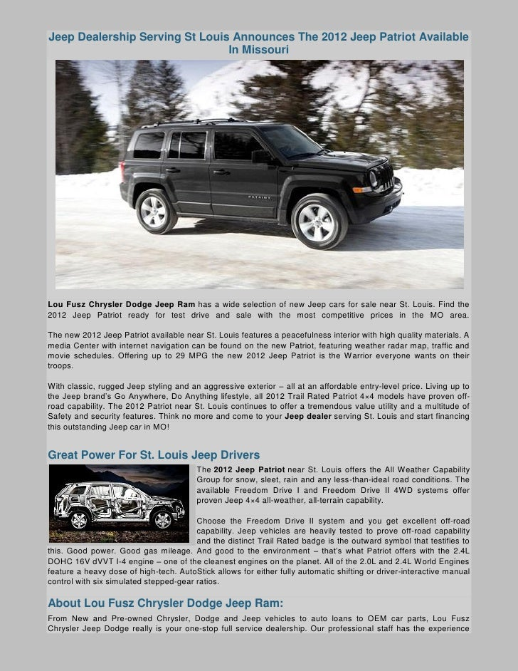 Jeep Dealership Serving St Louis Announces The 2012 Jeep