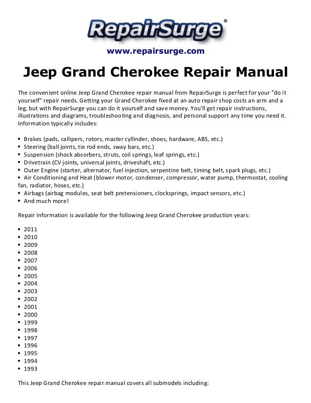 jeep grand cherokee repair manual 1993 2011 rh slideshare net 2005 jeep grand cherokee shop manual jeep grand cherokee service manual 2005 wk