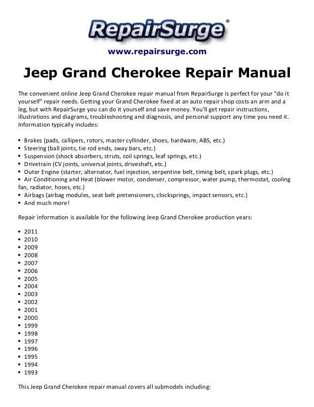 jeep grand cherokee repair manual 1993 2011 rh slideshare net 1994 jeep grand cherokee repair manual pdf 1994 jeep grand cherokee service manual free download