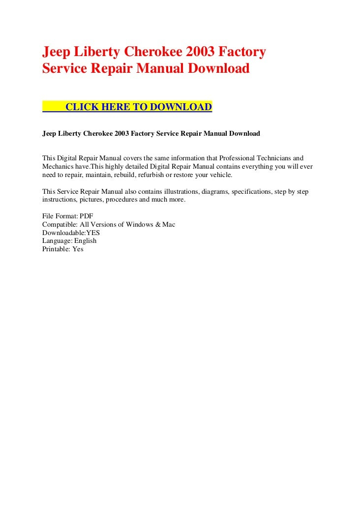 Jeep Factory Service Manual download