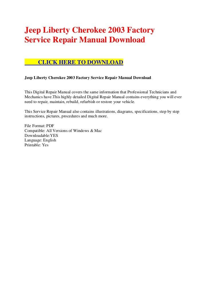 jeep liberty cherokee 2003 factory service repair manual. Black Bedroom Furniture Sets. Home Design Ideas
