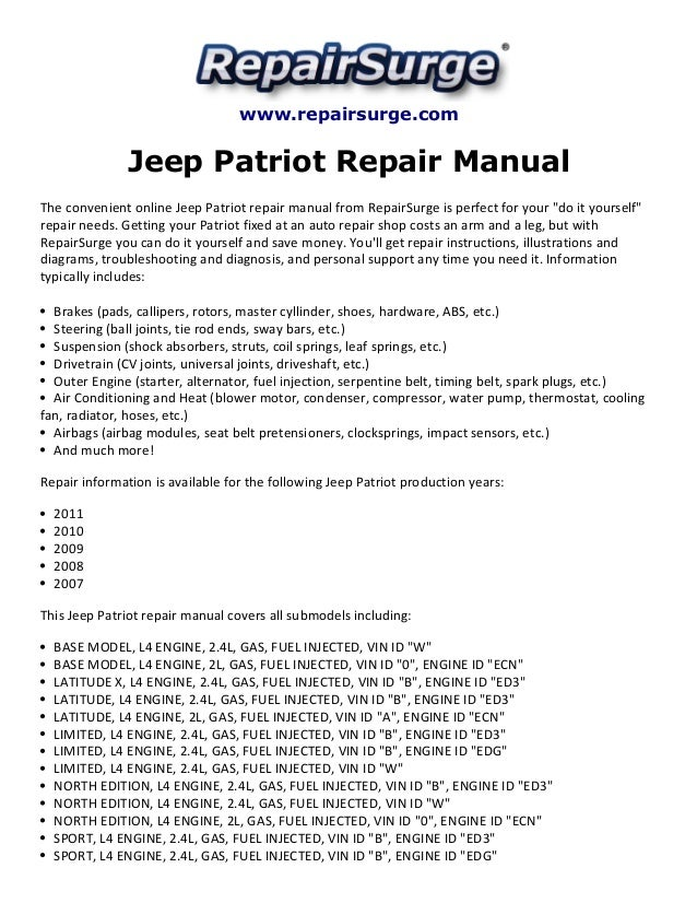 jeep patriot repair manual 2007 2011 rh slideshare net 2009 Jeep Patriot Repair Manual 2007 jeep patriot service manual pdf
