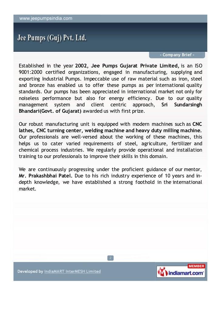 Jee Pumps (guj) Pvt. Ltd, Ahmedabad, Industrial Pumps Slide 2