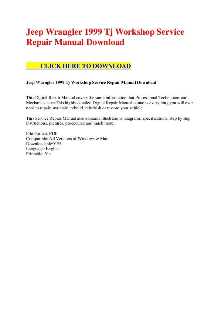 jeep wrangler 1999 tj workshop service repair manual download. Black Bedroom Furniture Sets. Home Design Ideas