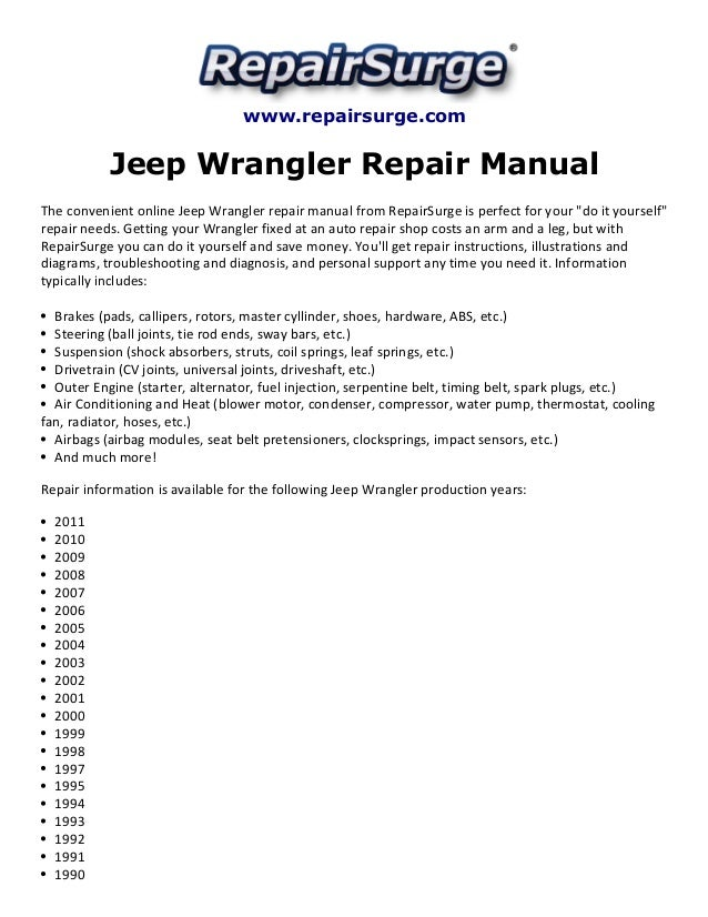 2004 jeep wrangler repair manual