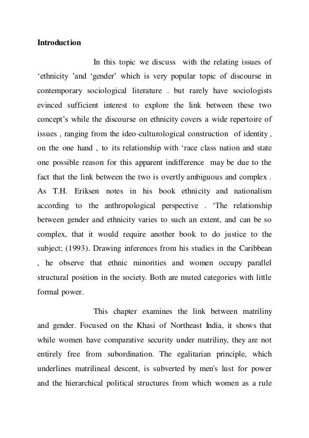 """exploring the issues of gender oppression sociology essay Some of us have experienced racial discrimination personally, perhaps  tool for  people expanding their knowledge on the issues they care about  by multiple  sources of oppression: their race, class, gender identity, sexual  first coined the  term intersectionality in her 1989 paper """"demarginalizing the."""