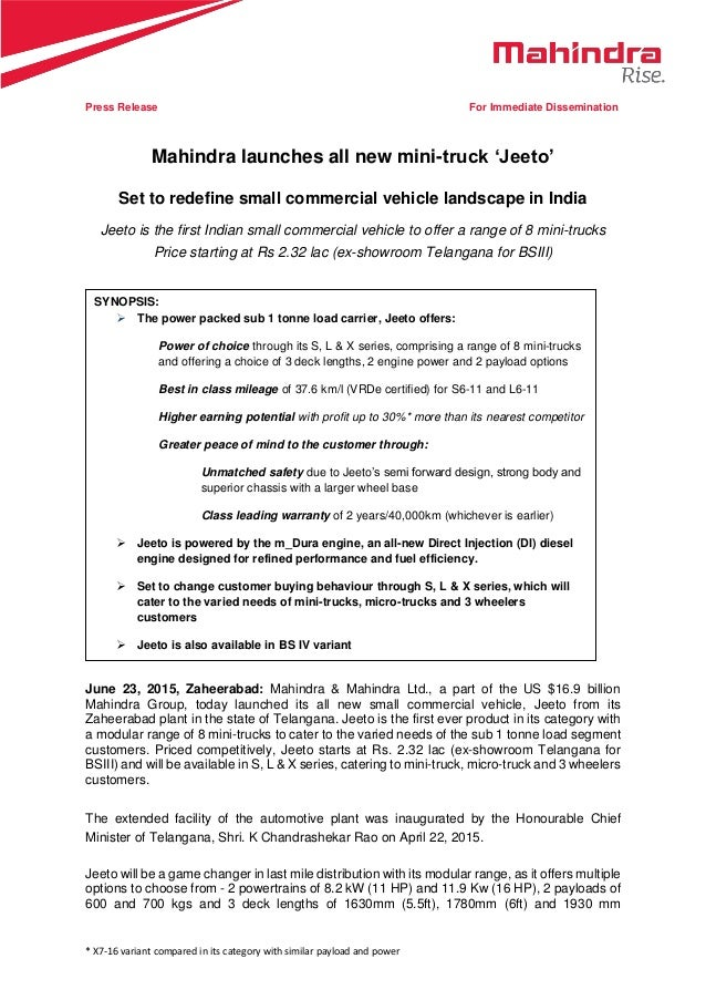 Mahindra Jeeto mini truck launched in India - Press Release