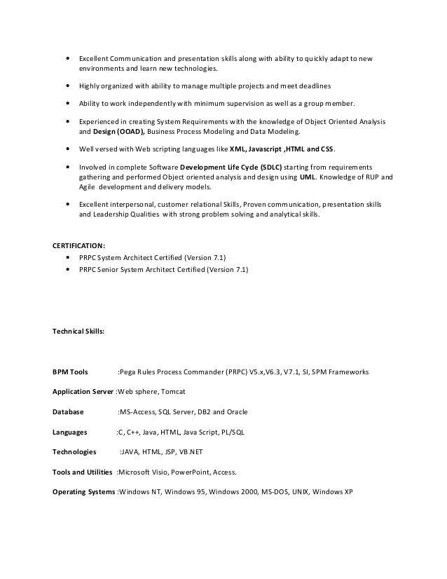 Awesome Pega Architect Resume Photos - Simple resume Office .