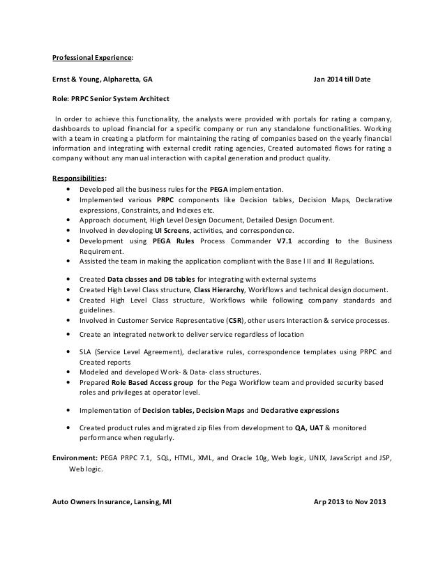 Pega cssa sample resume for Ernst and young resume sample