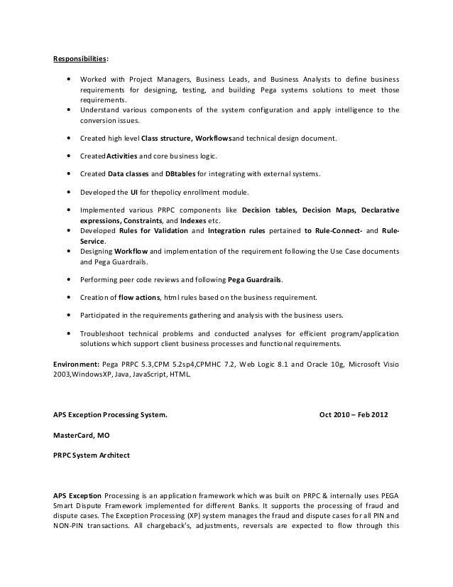 Pega Cssa Sample Resume