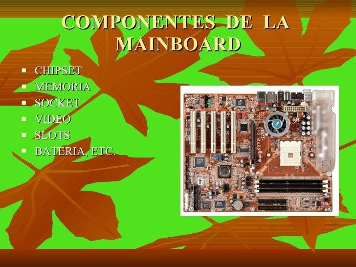 COMPONENTES  DE  LA  MAINBOARD <ul><li>CHIPSET </li></ul><ul><li>MEMORIA </li></ul><ul><li>SOCKET </li></ul><ul><li>VIDEO ...