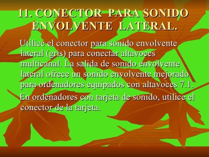 11. CONECTOR  PARA SONIDO  ENVOLVENTE  LATERAL. <ul><li>Utilice el conector para sonido envolvente lateral (gris) para con...