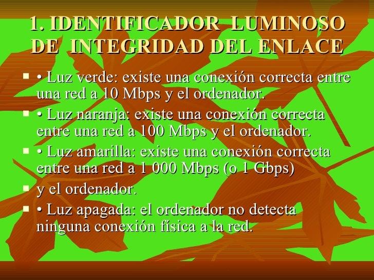 1. IDENTIFICADOR  LUMINOSO DE  INTEGRIDAD DEL ENLACE <ul><li>• Luz verde: existe una conexión correcta entre una red a 10 ...