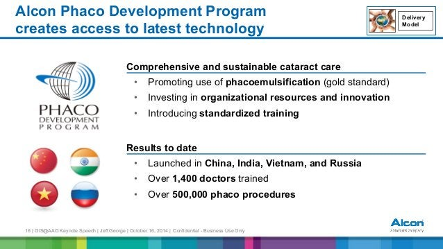 16 | OIS@AAO Keynote Speech | Jeff George | October 16, 2014 | Confidential - Business Use Only Alcon Phaco Development Pr...