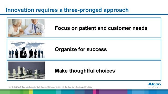 2 | OIS@AAO Keynote Speech | Jeff George | October 16, 2014 | Confidential - Business Use Only Innovation requires a three...