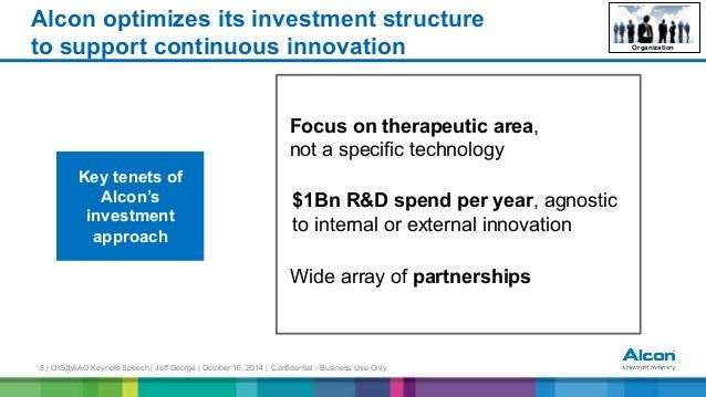 8 | OIS@AAO Keynote Speech | Jeff George | October 16, 2014 | Confidential - Business Use Only Alcon optimizes its investm...