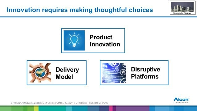 9 | OIS@AAO Keynote Speech | Jeff George | October 16, 2014 | Confidential - Business Use Only Innovation requires making ...