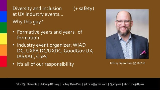 D&I+S@UX-events (Diversity and Inclusion plus Safety at User Experience Events) Slide 2