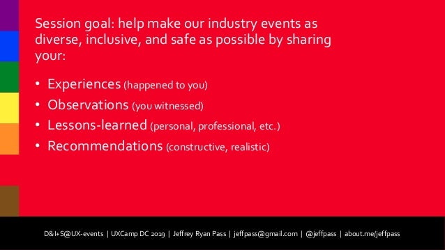 D&I+S@UX-events (Diversity and Inclusion plus Safety at User Experience Events) Slide 3